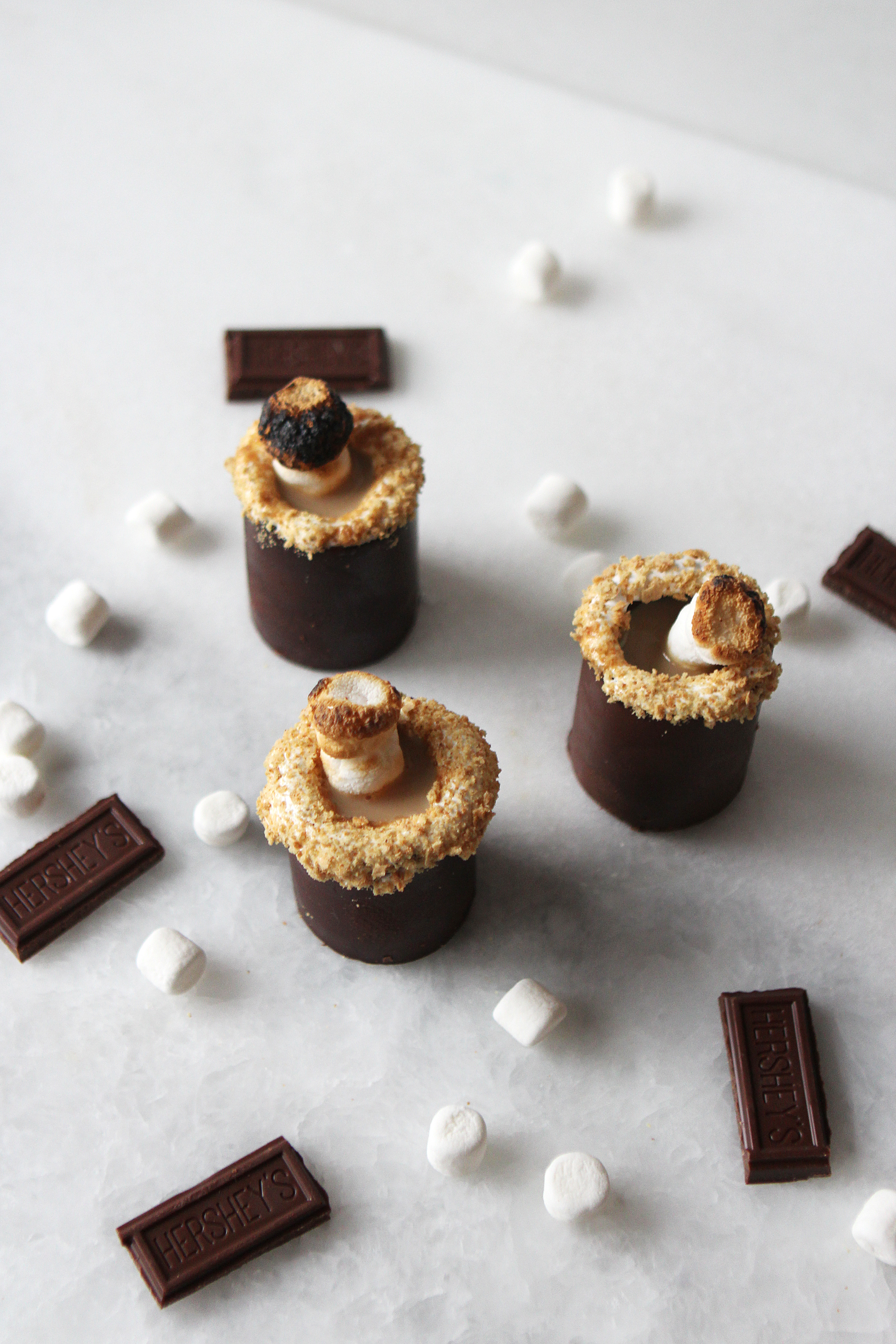 S'mores Shots in Real Chocolate Shot Glasses | Alexandra Adams