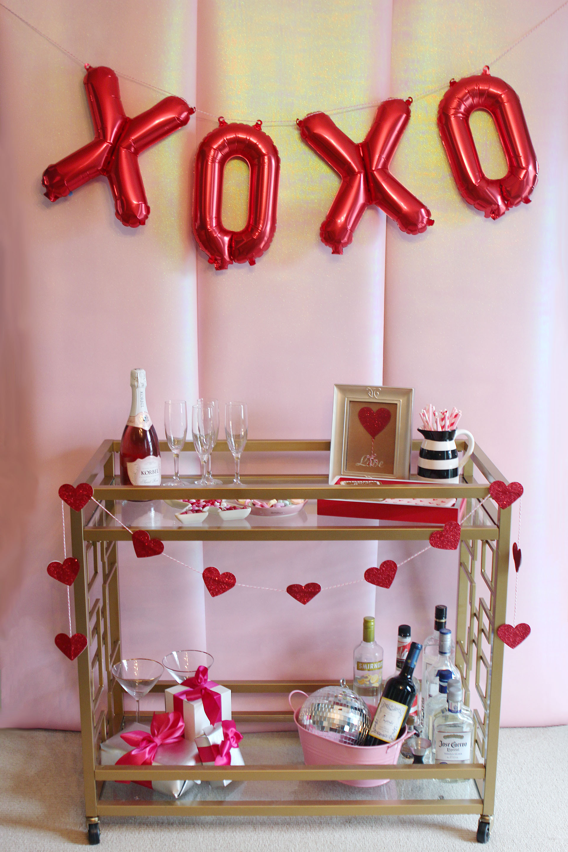 Valentine's Day Bar Cart Decor | Alexandra Adams